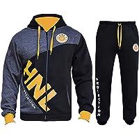 Mens HNL Contrast Tracksuits by ' Flirty Wardrobe ' Zipper Hoodie + Track Pants Sets 505