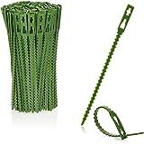 COM-FOUR® 200x groene kunststof plantenbinder - planten stabiliseren - boombindingstape - plantopzet - plantclips, 14 cm