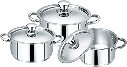 Bergner Acier Stainless Steel Casserole Set, 3-Pieces,Silver
