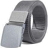 ITIEZY Mens Nylon Canvas Work Belt Military Tactical Outdoor Webbing Belt with Plastic Buckle