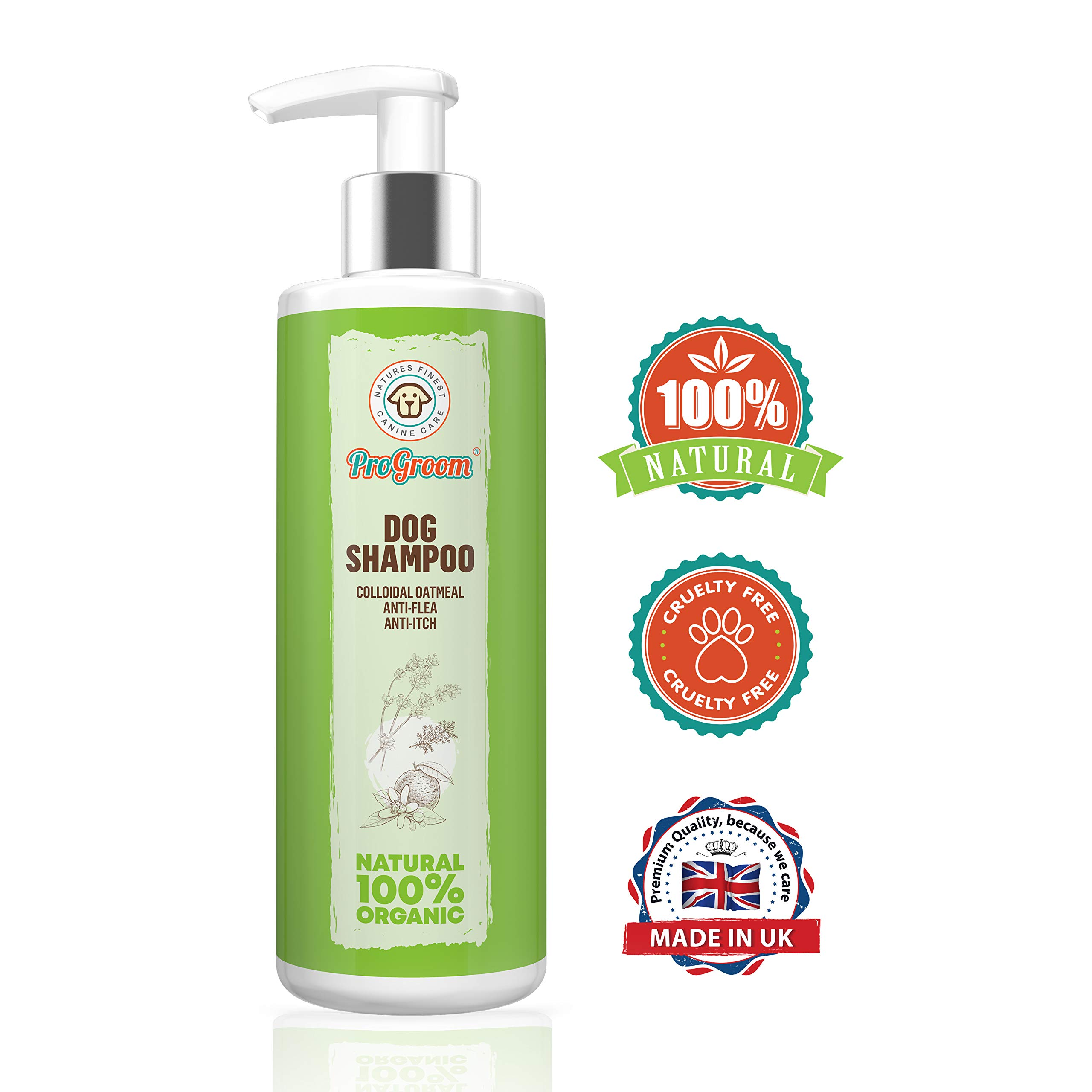 ProGroom Natural Oatmeal Dog Shampoo – Flea Shampoo Treatment and Itchy Skin Relief Formula – Grooming Puppy Sensitive Shampoo and Conditioner