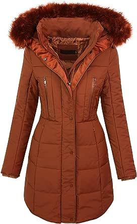 Giacca invernale da donna collo di pelliccia con cappuccio cappotto imbottito caldo D-209 S-XL