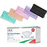 €MSK Mascherine chirurgiche colorate Monouso Adulto,Certificate CE,Tipo II,Triplo Strato Filtrante BFE>99%, 50 Pezzi, Pacchi