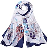 Sciarpa di seta da donna – 100% seta stampata Flora panno di seta colorato elegante Silk Scarf protezione solare foulard lung