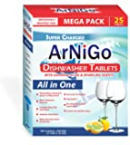 ArNiGo Dishwasher All in One Tablets (3 Packs X 25 Tablets = 75 Tablets)