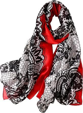 Nuweerir - Sciarpa da donna in 100% seta di gelso, sciarpa lunga in raso, alla moda, leggera