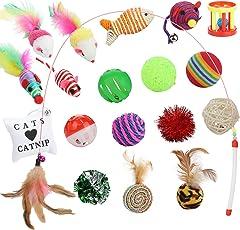 Funpet Katzenspielzeug Set 19 Stück Katzen Spielzeug Inklusive Katzenangel, Interaktiv Ball Maus Katze Toys Variety Pack mit Federn
