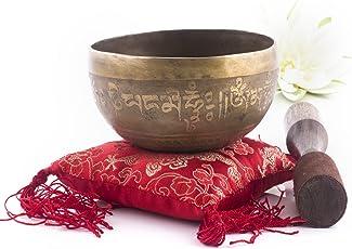 Silent Mind ~ Handgefertigtes tibetische Klangschale Set G Crown Chakra ~ mit Klöppel und Kissen~ für Chakra Heilung, Gebete, Yoga und Achtsamkeit ~ Handgefertigt in Nepal ~ perfektes spirituelles Geschenk