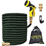 Garden Hose, Homeme 100 Feet Newest Expandable Strongest Magic Hose Pipe with Solid Brass Fittings & 9-pattern Spray Nozzle (