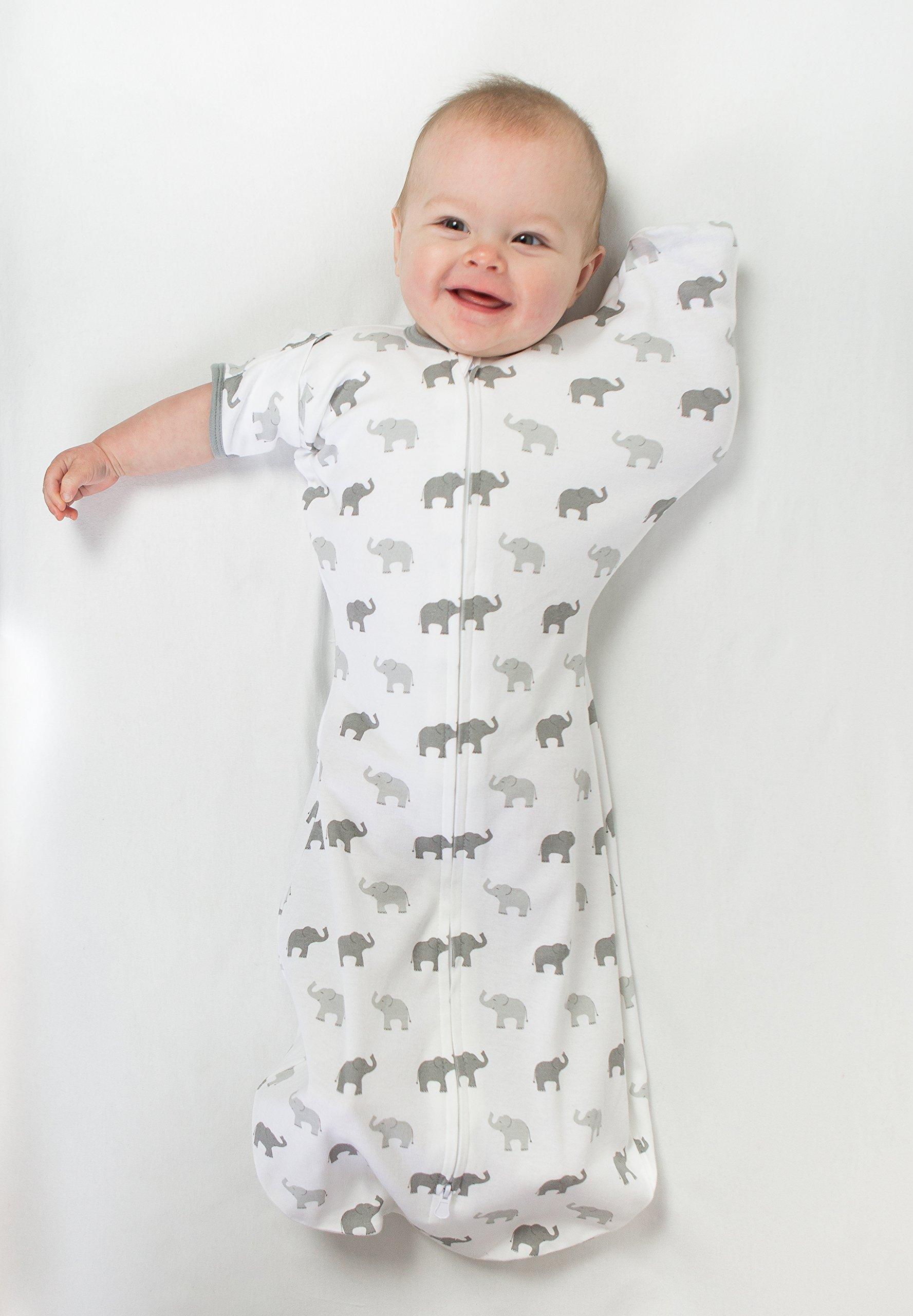 Amazing Baby - Saco de dormir para bebé con brazos, Elefantes pequeños azules, Azul, Medium (3-6 Month) 8