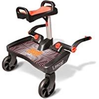 Lascal BuggyBoard Maxi Plus, Includes Saddle Seat, Compatible with 99% of Pushchairs, Black/Red