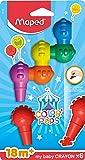 Maped Color'Peps Baby - Craies en Cire Bébé - Premier âge - Crayons de Cire pour enfants +18 mois - Boîte de 6 couleurs assorties - Ergonomique