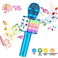 Karaoke Microphone, ShinePick 4 in 1 Wireless Bluetooth Microphone, Dancing LED Lights Portable Speaker Karaoke Machine, Home KTV with Record Function, Compatible with Android iOS Devices (Blue)