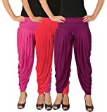Leap of Faith Women's Lycra Solid Free Size Dhoti Pants Combo of 3