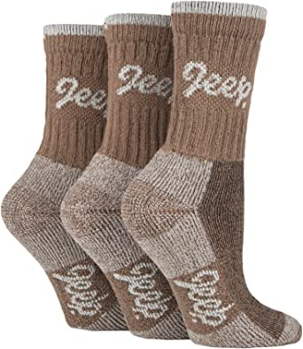 JEEP TERRAIN - 3 Pairs Cotton Walking Hiking Socks for Ladies - Padded Breathable Anti Blister Athletic Outdoor Performance Trekking Crew Socks for Women