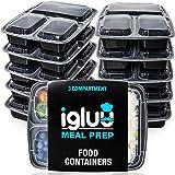 Contenitori Per Alimenti Ermetici Con 3 Scomparti (Set di 10) - Recipienti Di Plastica Senza BPA E Impilabili - Scatole Bento