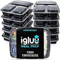 Igluu Meal Prep - [Lot de 10] Boîtes alimentaires à 3 compartiments pour préparation des repas - Réutilisables, sans BPA…