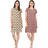 Zebu V Neck Printed Nightdress (Pack of 2)