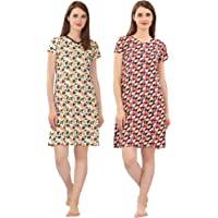 Zebu Trendy V Neck Printed Nightdress (Pack of 2)