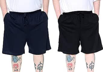 Brooklyn Big Plus Size Lounge Shorts 2 Pack Navy/Black Pyjamas Shorts Soft 100% Cotton with Pockets