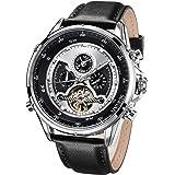 SURVAN WatchDesigner Reloj mecánico automático para Hombre Reloj de Pulsera Esqueleto Fecha Calendario Reloj Impermeable con