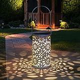Tencoz solarna latarnia LED do użytku na zewnątrz, lampa wisząca do ogrodu, w kształcie cylindra, wodoszczelna lampka nocna z