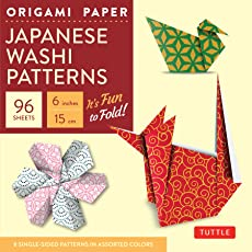 "Origami Paper - Japanese Washi Patterns - 6"" - 96 Sheets: Tuttle Origami Paper: High-Quality Origami Sheets Printed with 8 Different Patterns: Instructions for 7 Projects Included"