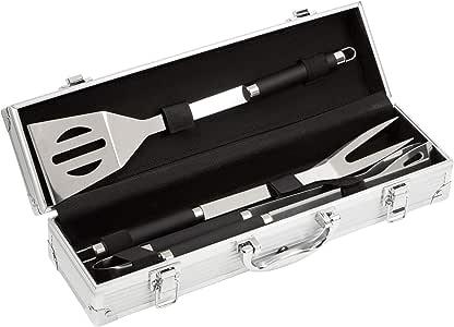 Bruzzzler 200100001067 Edelstahl Grillbesteck-Set 3-teilig im Koffer, 11,7 x 8,5 x 38,8 cm