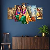 Saumic Craft Set Of 5 Rajasthani Village Lady Scenery Framed Wall Painting For Home Decoration , Living Room , Hotel With A S