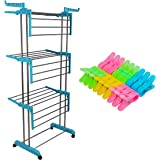 LivingBasics® Heavy Duty Rust-free Double Pole Clothes Drying Racks with Wheels for Indoor/Outdoor/Balcony (COMBO CYAN BLUE +