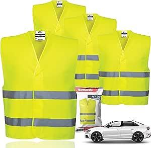 4x Warnwesten En471 Pannenweste 2021 Unfallweste Pkw Sicherheitsweste Weste Neongelb Reflektierend Auto Pkw Lkw 4x Stück Baumarkt