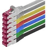 0,5m - 7 couleurs - 7 pièces - CAT6a Câble Ethernet Set - Câble Réseau RJ45 10000 Mo/s câble de Patch LAN Câble CAT 6a S-FTP PIMF 500 MHz sans halogène compatible avec CAT 5e / CAT 6 / CAT 7