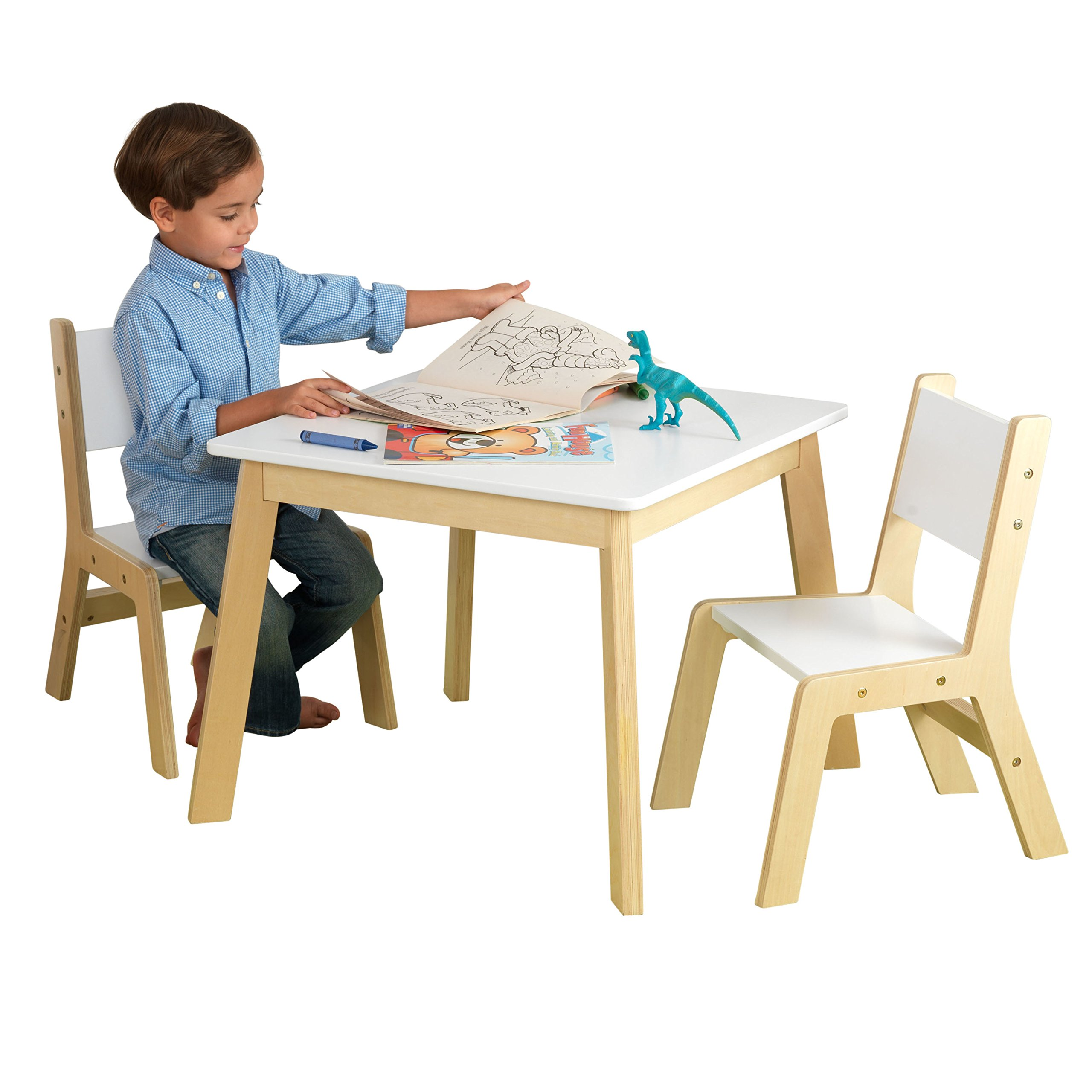 KidKraft 27025 Set Tavolo con 2 Sedie Moderni in Legno, Mobili per Camera  da Letto e Sala Giochi per Bambini - Bianco