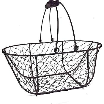 Rustikaler ovaler Drahtkorb - groß - für Dekorationen, Blumen oder als Hanging-Basket - Breite 38 cm