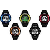 SWADESI STUFF Digital Girl's & Boy's Watch (Pack of 5) ( Multicolored Dial Black Colored Strap )