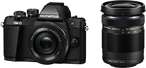 Olympus V207053BE000 OM-D E-M10 Mark II Camera with 14-42 EZ and 40-150 Twin Lens Kit (Black)