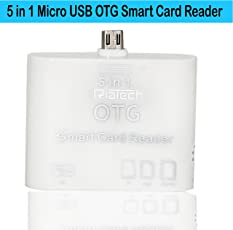 RiaTech® 5 in 1 OTG USB 2.0 Micro Card Reader Connection for Android Mobile and Tab Version 4.2.2 or Above [ White ]