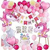 Decoración de Cumpleaños,MMTX 3D Unicornio Fiesta Decoracion Unicornio Globos con 1 Banner,2 Enorme Unicornio Globos,30 Globo