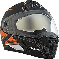 Vega Ryker Bolder Full Face Helmet (Dull Black/Orange, M)