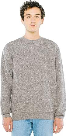 American Apparel Men's Peppered Fleece Long Sleeve Pullover Crewneck Sweatshirt