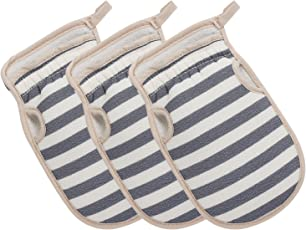 Segbeauty Body Peeling-Handschuhe, 3x Dusch-Scrubbing Handschuhe Striped Bad-Handschuhe Peeling, kleine Scrub-Handschuh Wash Peeling Hand-Handschuhe, Baumwolle Badehandschuhe für Frauen - Blau