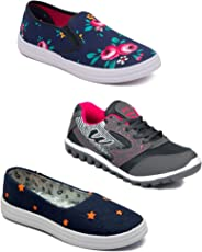ASIAN Multicolor Running Shoes,Casual Shoes,Canvas Shoes,Gym Shoes,Training Shoes,Walking Shoes for Women Pack of 3