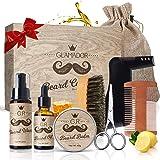 Kit Barbe Homme 9pcs GLAMADOR Kit Soins Entretien de Barbe-Kit Complet Huile,Baume,Shampoing,Peigne,Ciseaux,Pochoir,Brosse à