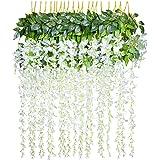 YQing Kunstblumen, künstliche Glyzinien, Heimdekoration, jeder Strang ist 110 cm lang, aus Seide, für Hochzeiten, zu Hause, Garten, Party, 12 Stück (weiß)