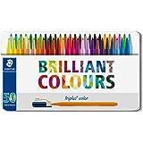 Staedtler Triplus Color, Feutres de coloriage de haute qualité, Pointe moyenne de 1 mm, Boîte en métal avec 50 couleurs lumin