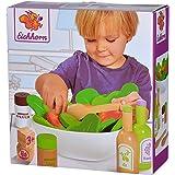 Eichhorn 100003738 salladsset med grönsaker, salt- och pepparströare, vinäger och oljeflaska, skål, 28 stycken, ekträ, plywoo