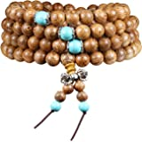 108 Beads Bracelet Tibetan Buddhist Buddha Meditation Natural Wood Mala Prayer Bead Necklace