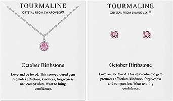 Philip Jones Set Collana e Orecchini Birthstone di Ottobre (tormalina) Creati con Cristalli Austriaci