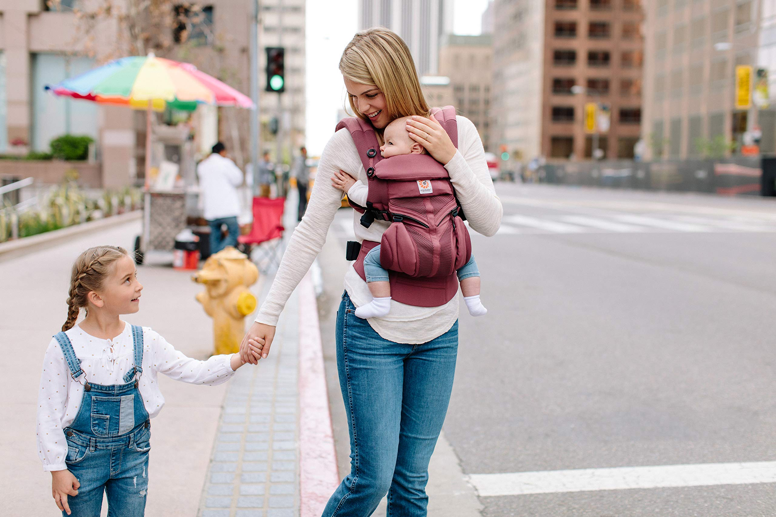 Ergobaby Baby Carrier for Newborn to Toddler, 4-Position Omni 360 Cool Air Plum, Breathable Ergonomic Child Carrier & Backpack Ergobaby BABY CARRIER FOR NEWBORN - Adapts to your growing baby from birth to toddler (7-45lbs). 4 carry positions: front-inward, back, hip, and front-outward. A Baby hood for sun protection (UPF 50+) & privacy for sleeping or breastfeeding is included. COMFORT - Exceptional lower back comfort with padded lumbar support waist belt & extra padded shoulder straps with the option to wear 2 ways: crossed or backpack style. Waist belt can be worn high or low to maximize comfort. COOL & BREATHABLE - Our Cool Air Mesh baby carriers are made with soft and durable mesh fabric that provides our renowned ergonomic support for baby while allowing for ultimate breathability and airflow 9
