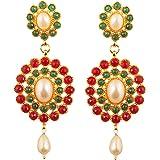 Touchstone Orecchini chandelier di gioielli da sposa abbaglianti in smeraldo finto bollywood indiano per donna